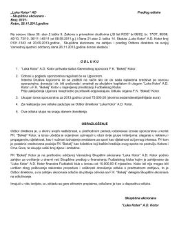 """""""Luka Kotor"""" AD Predlog odluke - Skupština akcionara"""