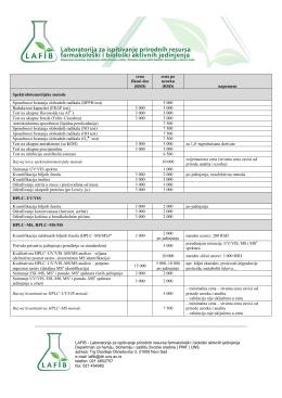 Cenovnik i lista usluga - Departman za hemiju, biohemiju i zaštitu