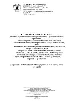 KONKURSNA DOKUMENTACIJA br. 4/2013