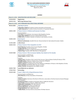 AGENDA March 3, 2014 REGISTRATION AND WELCOME March 4