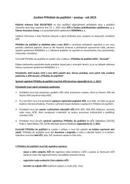 internet-Zasílání Přihlášek do pojištění - 2015