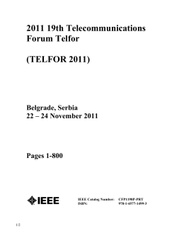 2011 19th Telecommunications Forum Telfor