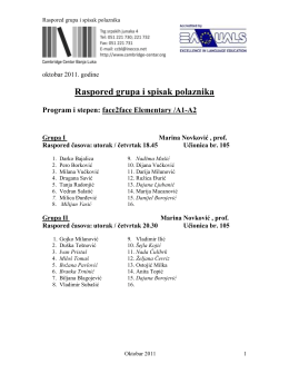 Raspored grupa i spisak polaznika