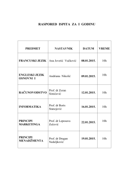 raspored ispita za i godinu - Fakultet za evropski biznis i marketing