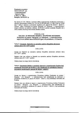Predlog odluka za Skupštinu