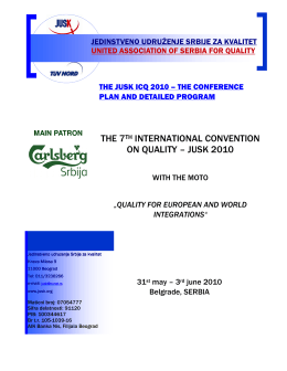 THE 7TH INTERNATIONAL CONVENTION ON QUALITY – JUSK 2010