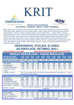 Cenovnik KRIT 2015 Aerodrom Heraklion