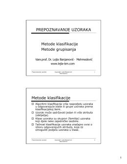 PU 2 Metode grupisanja - Vanr.prof.dr. Lejla Banjanović
