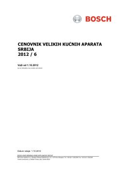 cenovnik velikih kućnih aparata srbija 2012 / 6
