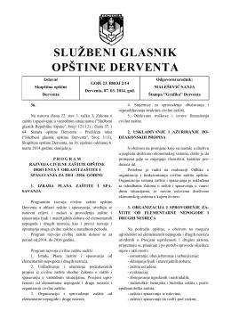 """""""Službeni glasnik opštine Derventa"""", broj : 2/14"""
