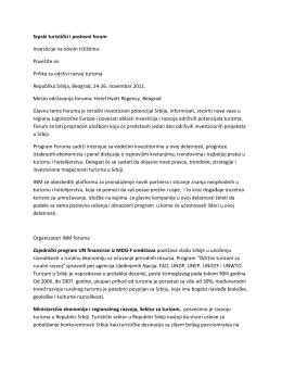 Najava Srpskog turističkog i poslovnog foruma