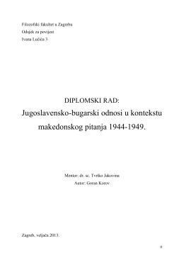 Diplomski rad Jugoslavensko-bugarski odnosi u kontektstu