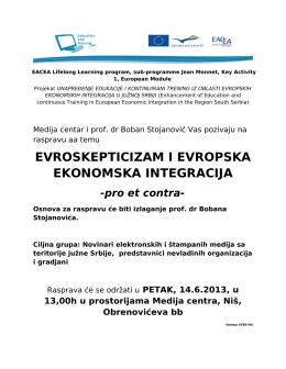 Jean Monnet-Rasprava na temu Evropska ekonomska integracija