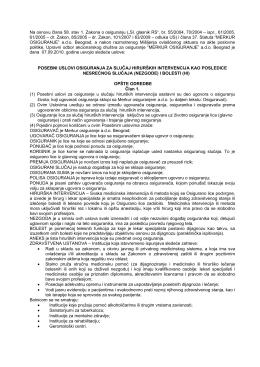 Posebni uslovi osiguranja HIRURŠKE INTERVENCIJE