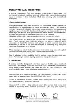 záznamy příkladů dobré praxe - Rozvoj čtenářských kompetencí