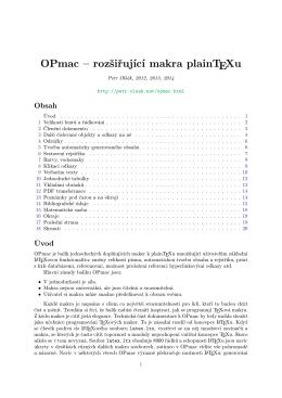 OPmac – rozšiřující makra plainTEXu