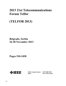 2013 21st Telecommunications Forum Telfor