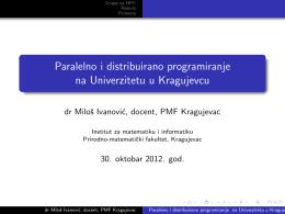 Paralelno i distribuirano programiranje na Univerzitetu - int