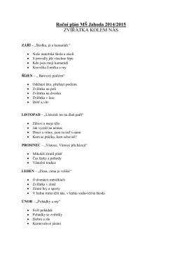 Roční plán MŠ Jahoda 2014/2015 ZVÍŘÁTKA - skolka