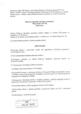 Poziv za redovnu skupstinu 24.06.2013. godine