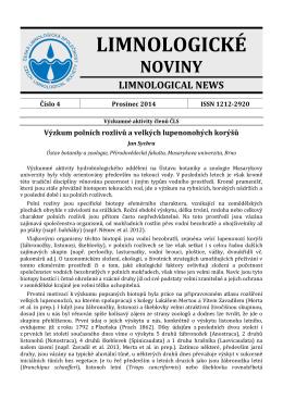Limnologické noviny č. 4/2014 - Česká limnologická společnost