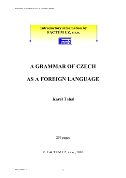 a grammar of czech as a foreign language