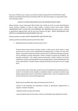 Izveštaj o potrebi sprovodjenja promene pravne forme