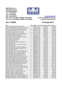 M.P. CJENIK 20.ožujak 2015