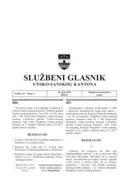 Sluzbeni glasnici 11 - Vlada Unsko