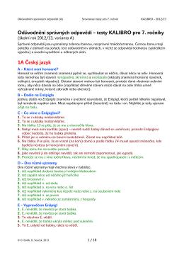 Odůvodnění správných odpovědí – testy KALIBRO pro 7. ročníky 1A