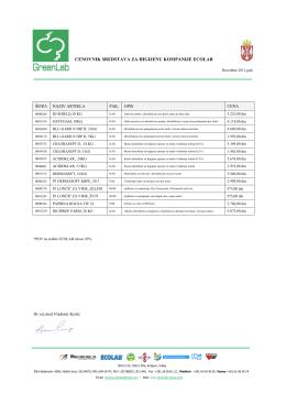 Ecolab proizvodi - GreenLab Serbia