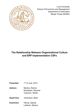 The Relationship Between Organisational Culture and ERP