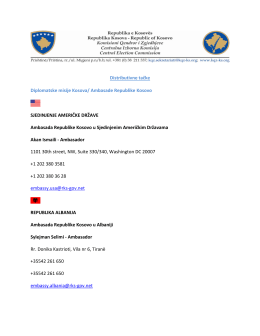 Ambasade Republike Kosovo SJEDINJENJE AMERIČKE DRŽAVE