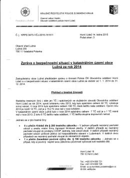 Zpráva o bezpečnostní situaci za rok 2014