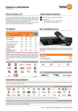 sd i hd rezolucija ponuda s cenovnikom šta je total tv? - Home-sat
