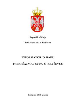 INFORMATOR O RADU PREKRŠAJNOG SUDA U KRUŠEVCU