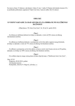 odluku o visini naknade za rad advokata za odbrane po službenoj