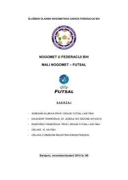Adresar Prve i Druge futsal lige FBiH novembar/studeni 2014.