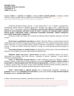 zahtev za dopunu prijave oduzete imovine