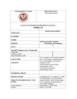 FIZIKA II - Univerzitet u Tuzli