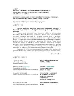 а фест: програм - Akademija umetnosti Novi Sad