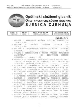 001-2015 - OPŠTINA SJENICA