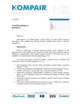 Primjer tehničke podloge ponude za automatizaciju