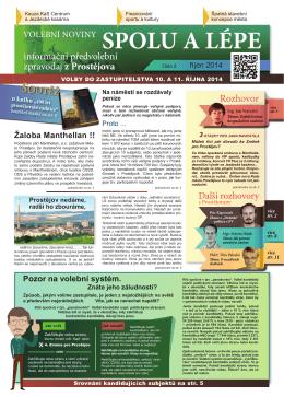 volební noviny - Změna pro Prostějov