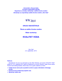 KVALITET VODA - Water Workshop