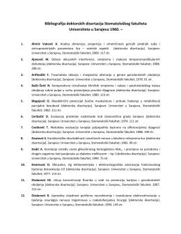 Bibliografija doktorskih disertacija Stomatološkog fakulteta