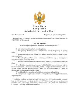 O G L A S - Skupština Crne Gore