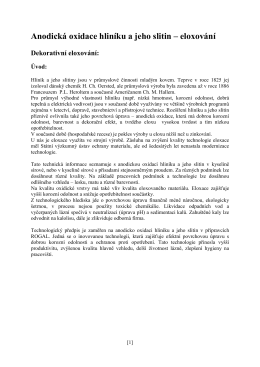 Anodicka oxidace hliniku a jeho slitin clanek