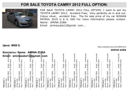 FOR SALE TOYOTA CAMRY 2012 FULL OPTION: