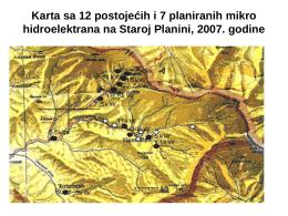 Karta sa 12 postojećih i 7 planiranih mikro hidroelektrana na Staroj